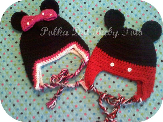Mickey and Minnie inspired hats