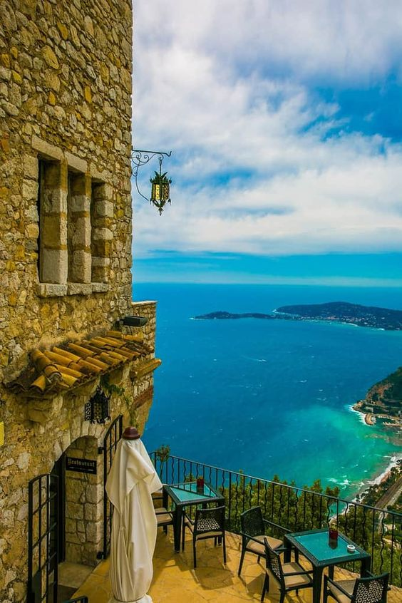 views of the Mediterranean Sea and the French Riviera, also known as Cote d'Azur, between Monaco and Nice, southern France