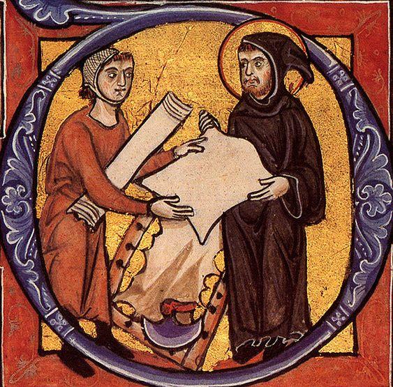 Dans un atelier de parcheminier, un moine reçoit une feuille de parchemin (Konglike Bibliotek de Kopenhagen, Ms. 4 Bd. 1, f. 183 r daté de 1255 ap.):