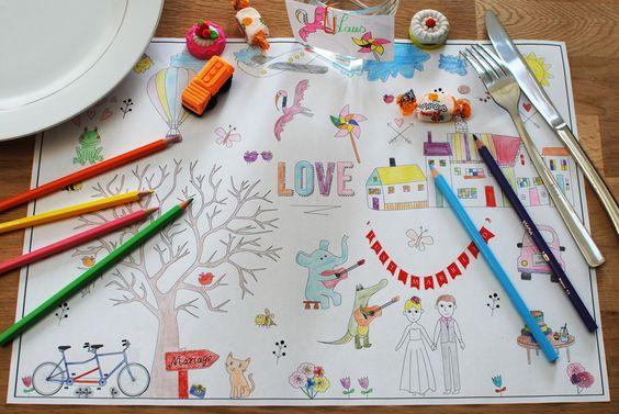 T L Charger Des Sets De Table Colorier Pour Les Enfants Mariage Coloration Et Tables