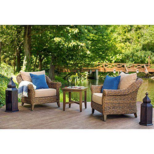 Blue Oak Outdoor Bahamas Patio Furniture Stationary Lounge Chair With Sunbrella Canvas Heather Beige Cushions Backyard Furniture Patio Furniture Lounge Chair Outdoor