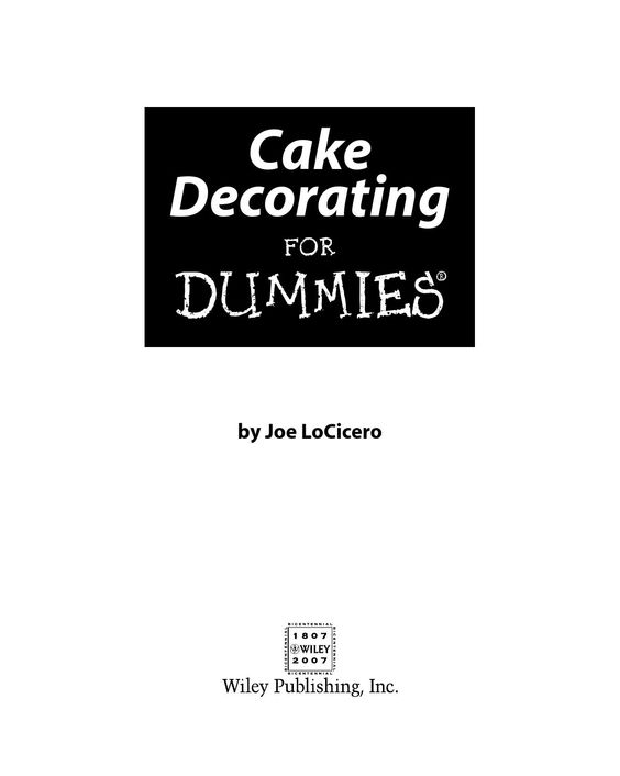 Cake Decorating For Dummies Isbn 0470099119