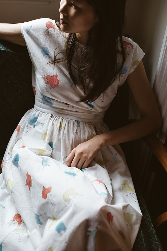 SALE - Cotton Dress - 'Paper Boats' dress in 'Gaze in Wonder' print: