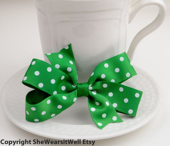 Holiday Hair Bow Pinwheel Hair Bow for Girls by SheWearsitWell, $4.50