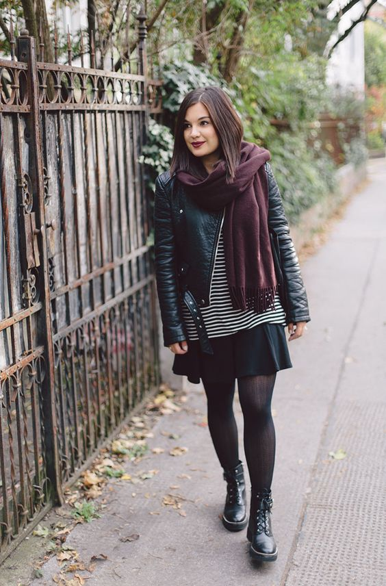 outfits negro con bufanda