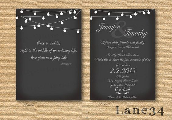 Hanging Lights Elegant Wedding Package includes invitation, save the date, thank you, and rsvp printable DIY. $20.00, via Etsy.