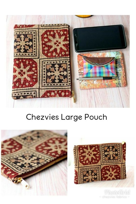 Brown Large Pouch, Zipper Pouch, Traveler Bag, Travel Organizer, Ajrakh Block Print Clutch, boho style zipper pouch