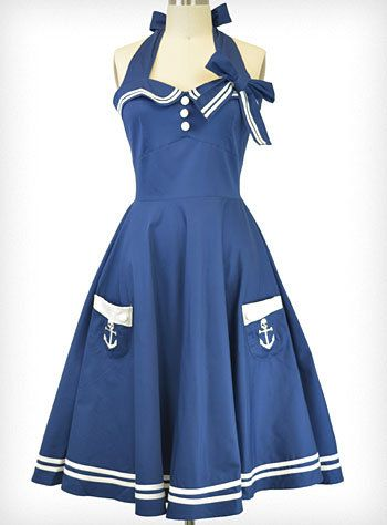 In the Navy Halter Dress..just so happens ...I was in the Navy!