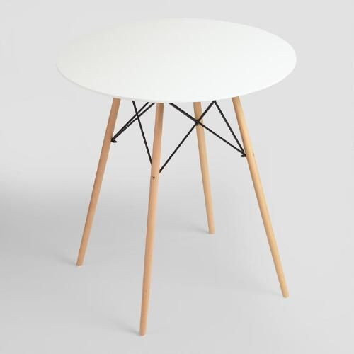 With a smooth white lacquer surface, our round bar-height table is a compact…
