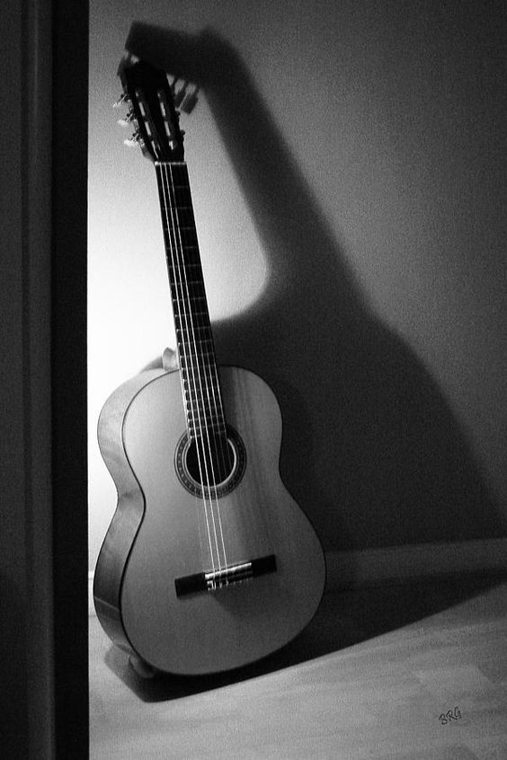 Classic Guitar Photograph - Guitar Still Life In Black And White by Ben and Raisa Gertsberg