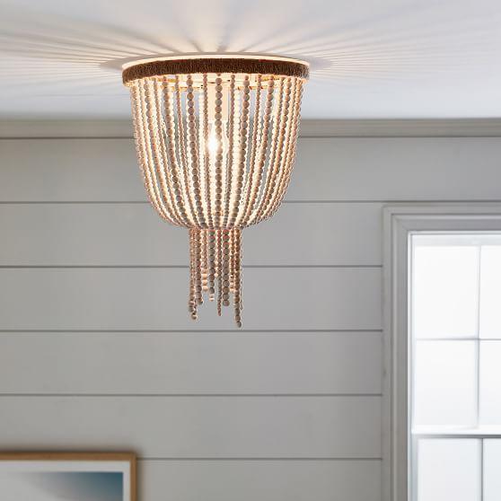 Wood Beaded Flushmount White Ceiling Light Ceiling Fixtures