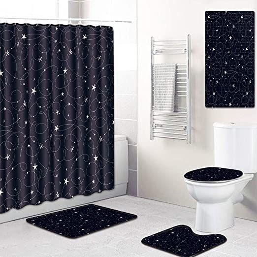 4Pcs Bathroom Shower Curtain Bath Mat Green Tropical Plants Rug Toilet Cover