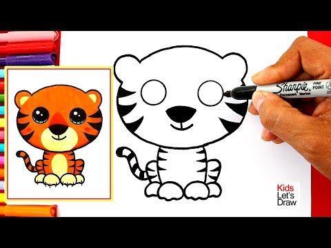 Aprende A Dibujar Un Tigre Kawaii Facil How To Draw A Cute Tiger