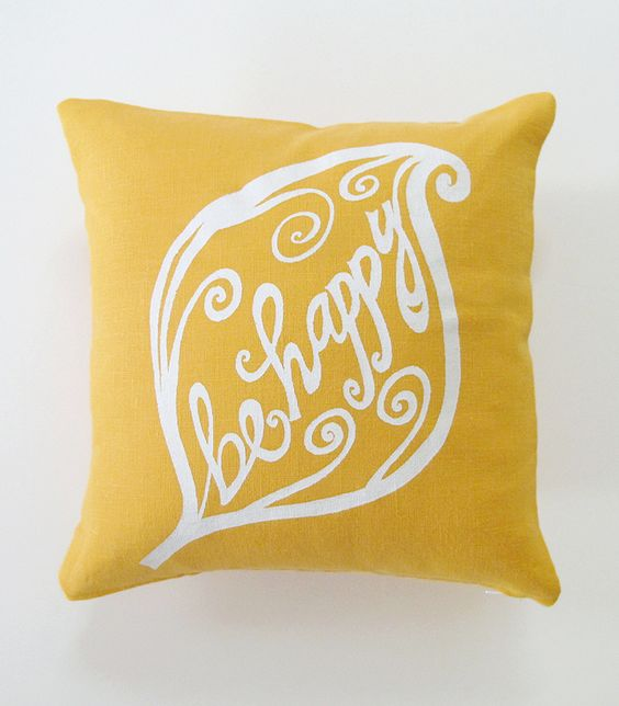 Pillow Cover Cushion Cover Be Happy in White on mustard yellow Linen | Sweet Natures Design: