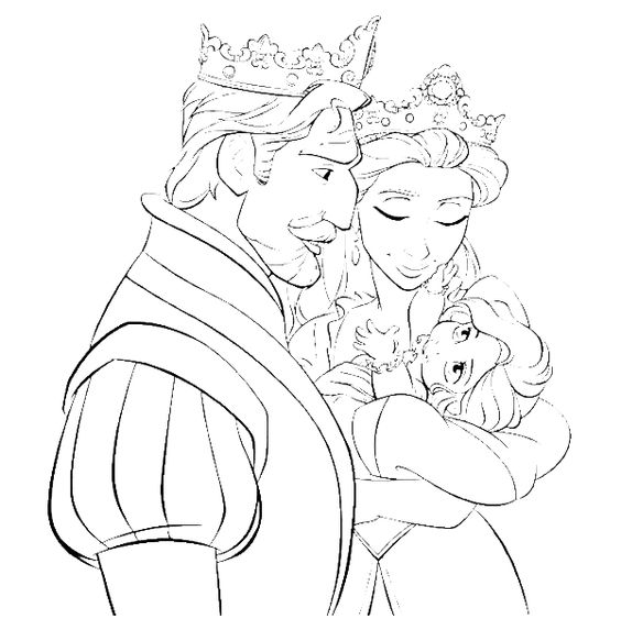 Baby Rapunzel Coloring Pages With Family Princess