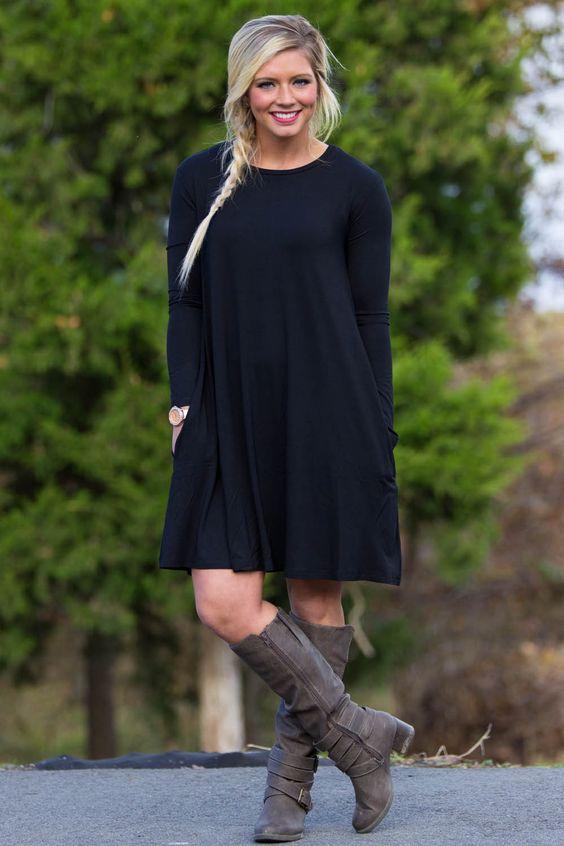 Piko Swing Dress-Black