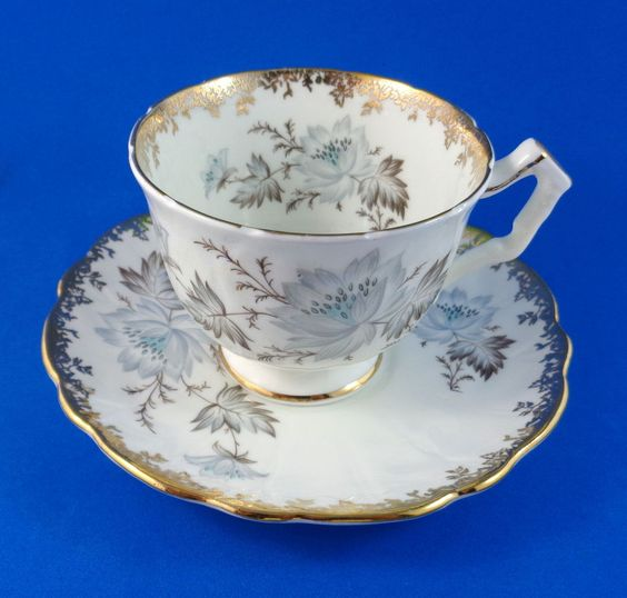 Gray and Gold Floral Design Aynsley Tea Cup and Saucer Set