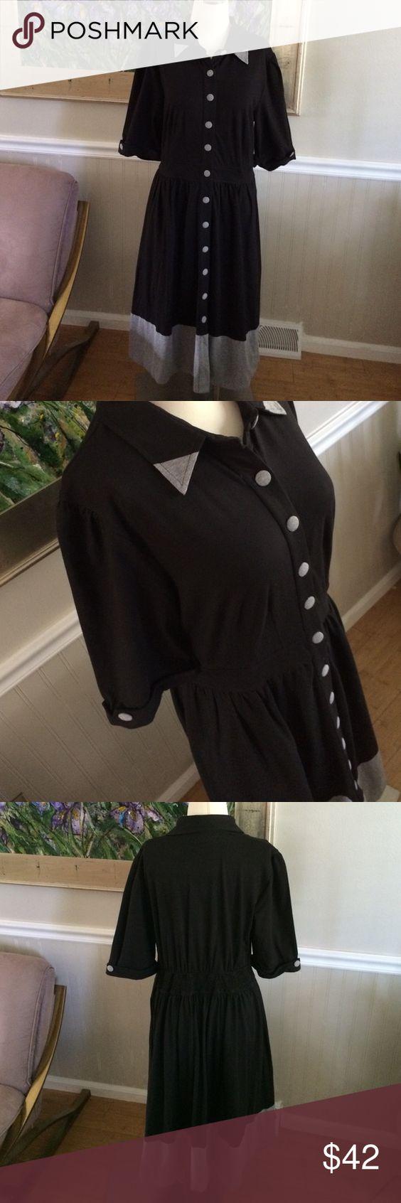 "Eshakti black and gray dress NWOT!  Stretchy waist, retro style.  Measures 43"" long and 19"" armpit to armpit.  Made in India eshakti Dresses Midi"