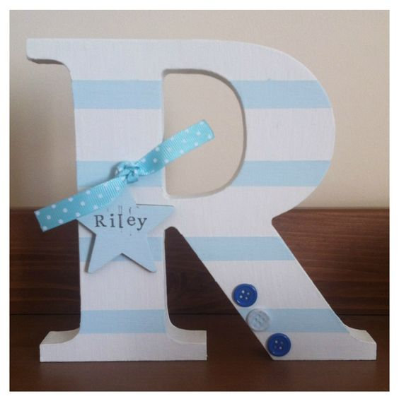 Decorated wooden letter. New baby gift. Boys nursery.