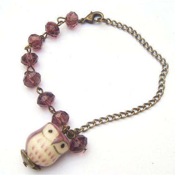 Antiqued Brass Porcelain Owl Purple  Quartz bracelet by gemandmetal