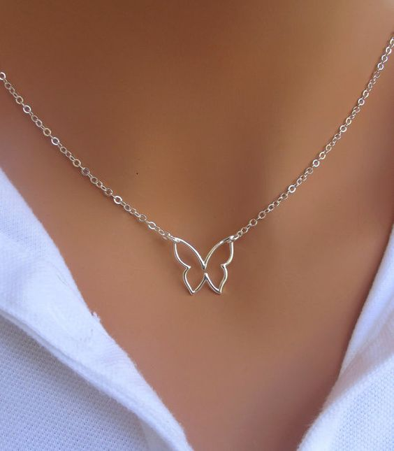 Butterfly+Necklace+in+STERLING+SILVER.+by+RoyalGoldGifts+on+Etsy,+$23.00