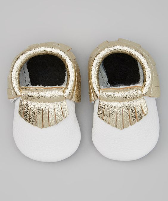 Look at this Khykouture White & Gold Leather Moccasin on #zulily today!
