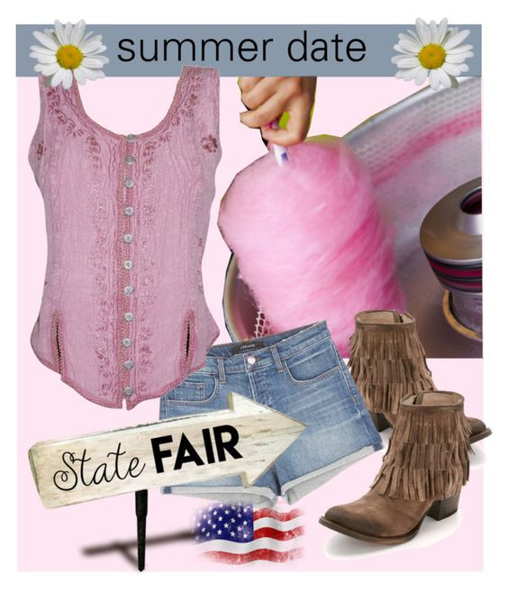"""""""untitled 7.2016"""" by princessbollywood ❤ liked on Polyvore featuring Cotton Candy, Steven by Steve Madden, J Brand, statefair and summerdate"""