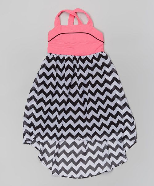 Look at this Youngland Pink & Black Chevron Chiffon Hi-Low Dress - Girls on #zulily today!