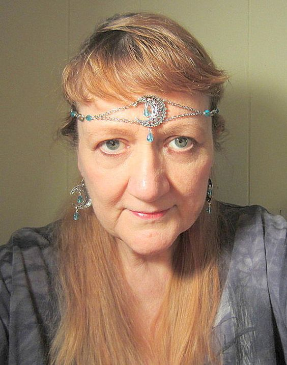 Blue #Moon #Maiden #Circlet #Crescent Teardrop by LadySeraphinite, #handfasting #weddings   #pagan #wicca