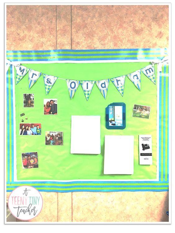 A Teeny Tiny Teacher - Meet the teacher bulletin board in 1st grade classroom