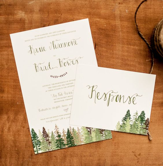 Rustic Wedding invitations - The Katie - Woodland, green, brown, Trees, Forest, Rustic Wedding - woodland wedding, calligraphy on Etsy, $2.90:
