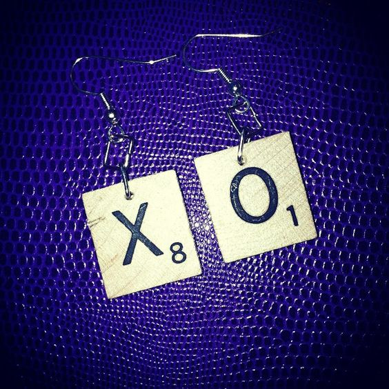 Custom X-O Scrabble Earrings    If interested in any of my products contact me at www.twitter.com/@KoolJaye on Twitter or send me a note/msg on Pinterest.