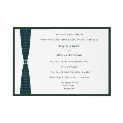 Flower of Scotland tartan plaid #wedding invitation