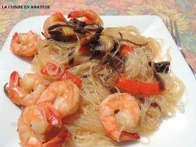 La cuisine en amateur de Maryline: Vermicelles de soja aux champignons et crevettes