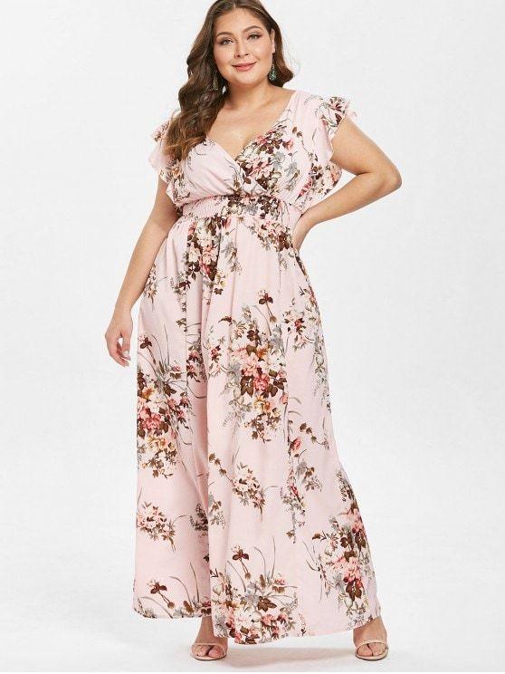 Ruffles Floral Plus Size Maxi Dress - PINK L #Plussize ...