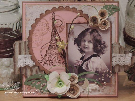 Karte, Vintage, rosa, braun, handgemacht, selbstgemacht, Papierblumen, Papier, Blumen, Spitze, romantisch, altes Foto, vintage card, brown, rose, paper flowers, handmade, selfmade