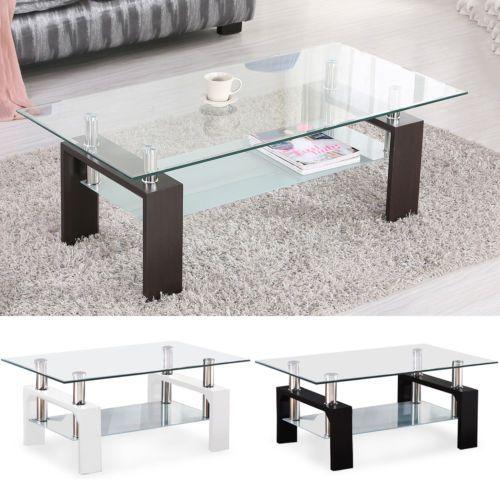 Dining Sets 107578 Modern Glass Chrome Wood Coffee Table Shelf Rectangular Living Room Fu Modern Glass Coffee Table Rectangular Living Rooms Coffee Table Wood