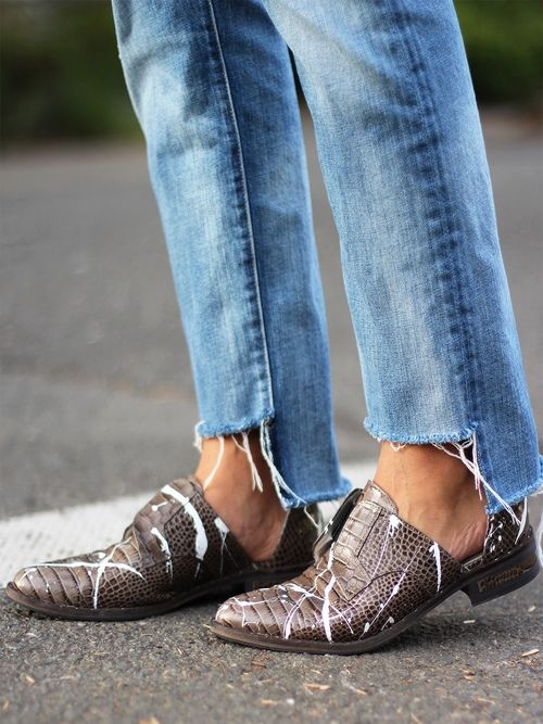 frayed denim + oxfords: