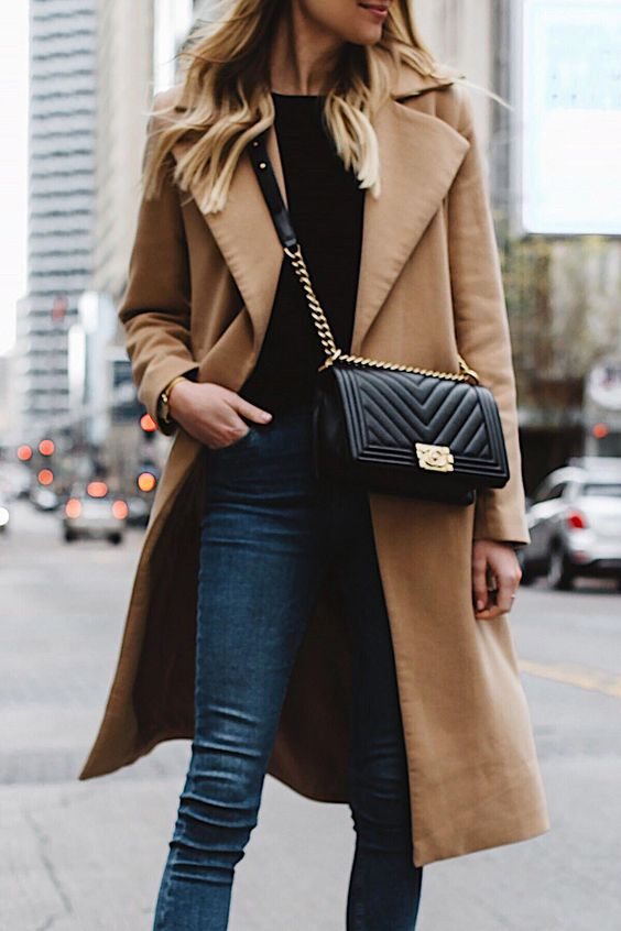 woman wearing long camel coat black sweater topshop denim skinny jeans chanel black boy bag fashion jackson dallas blogger fashion blogger street style #winterwomensfashion