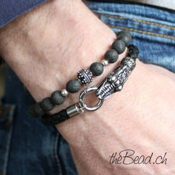 Schmuck online schweiz  Herren Echtleder Armband mit Drachenkopf Verschluss ...