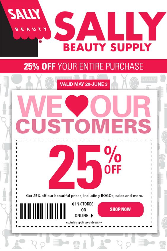 Additionally, Sally offers makeup, hair removal products and skincare solutions. Sally Beauty believes beauty should be affordable. Their competitive prices guarantee you'll get a good deal, but they offer coupons and promo codes that can save you an additional 10 to 20 percent off as well.
