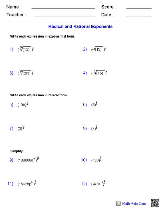 Radical and Rational Exponents Worksheets – Radicals and Rational Exponents Worksheet