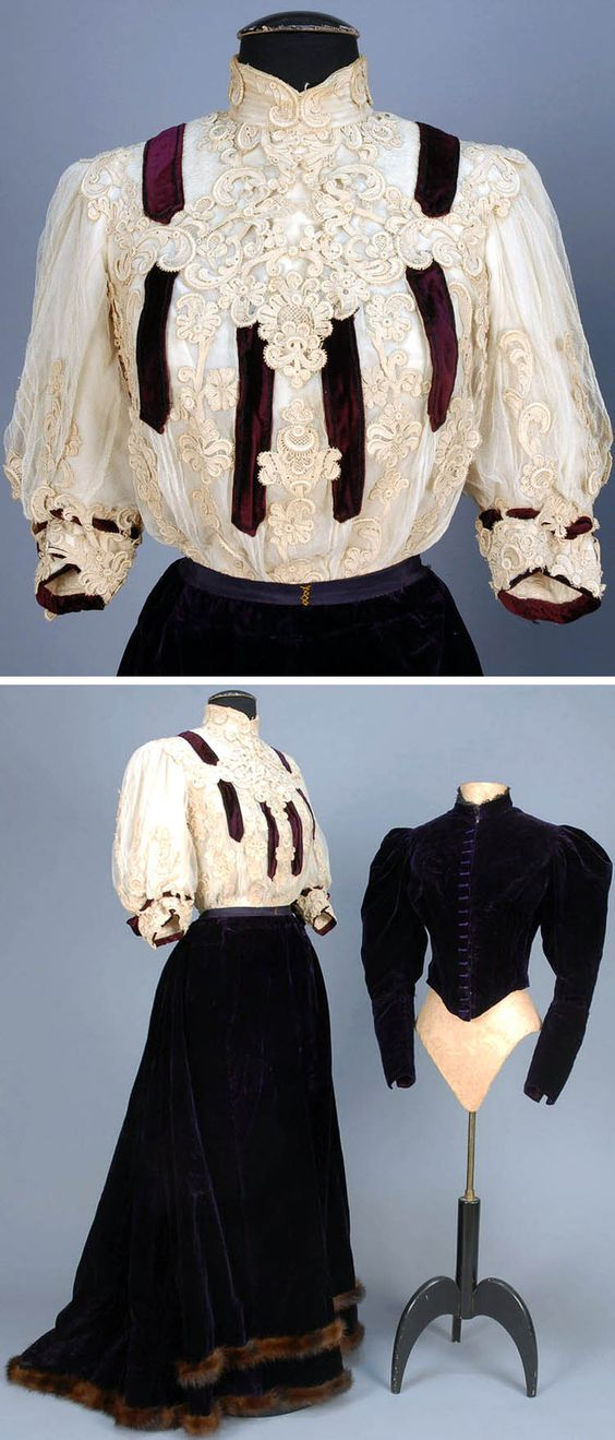 Trained velvet suit with fur trim, Cleveland, ca. 1890s. Three pieces: bodice, jacket, skirt. Aubergine silk boned jacket with band collar & gigot sleeves and matching skirt with double hem band of brown fur. Tulle high-necked bodice with cream appliqué lace, trimmed with velvet bands. Boned & with taffeta lining and chiffon under-sleeve. Whitaker Auctions: