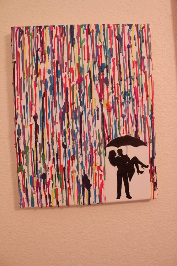 Handmade - Melted Crayon Art - Couple Kissing Under Umbrella - Various Colors--would  be cute with child under umbrella