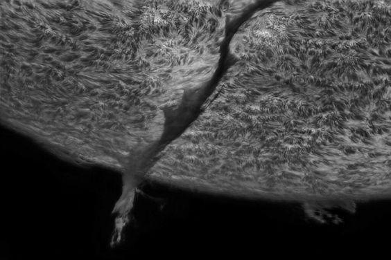 Filaprom emergindo da superfície do Sol. Filaproms são partes grandes e gasosas da matéria do sol, que podem ser vistas sob o astro como um filamento. São conhecidos por terem a largura de 150 terras alinhadas