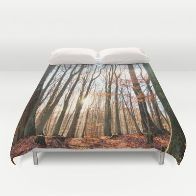 Sunny winter day Duvet Cover by Pirmin Nohr - $99.00 A walk through the forest on a winter day without snow  red, sun, autumn foliage, leaves...