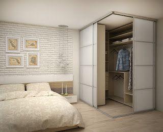 Дизайн интерьера:   Небольшая гардеробная в спальне.Размеры ком...