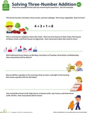 Add Three Numbers Word Problems | Worksheets, Words and Addition ...
