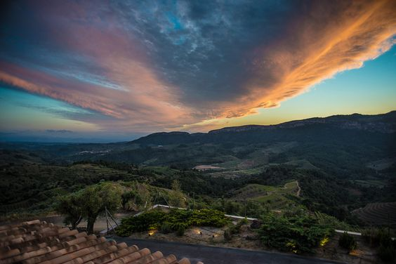 A shot at sunset from our hotel balcony in the Priorat wine region of Catalunya, Spain.
