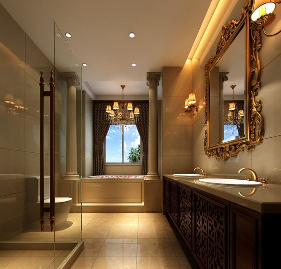 Expensive interior homes luxury bathroom interior design Neo classic interior design